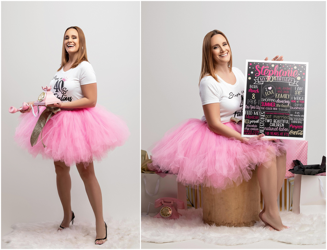 Stephanie's 40th Birthday Shoot in studio in Queens, NY. White, pink, gold and black theme. Pink tutu. Birthday shoot ideas for adults.