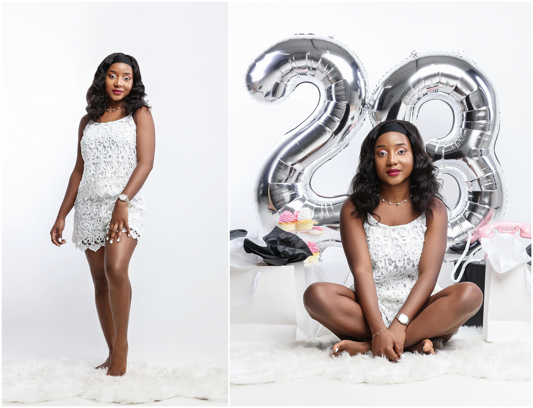 Sarai's 23rd Birthday Shoot in studio in Flushing, Queens. Birthday shoot ideas for adults.