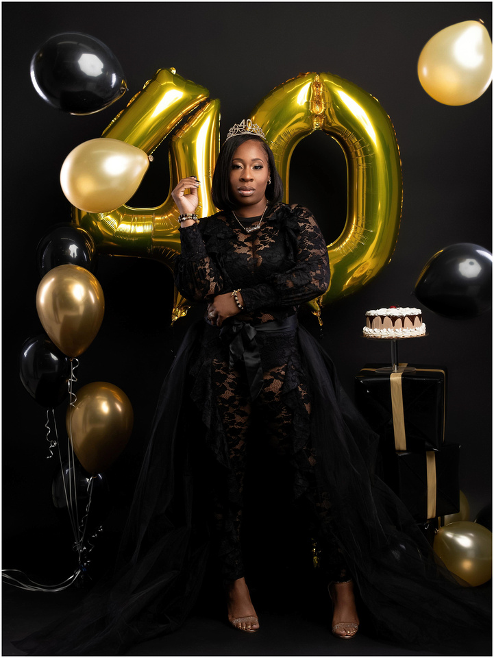 Nicole's 40th Birthday Shoot in studio in Queens, NY. Black and gold theme.