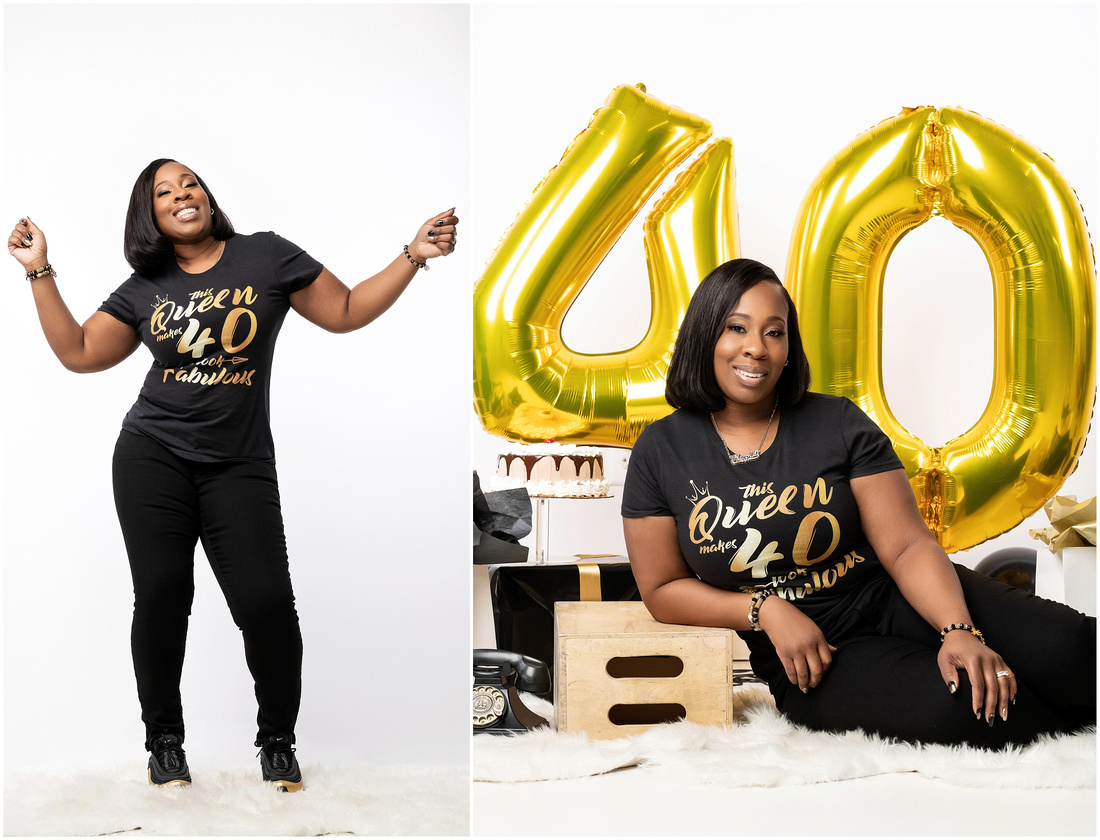 Nicole's 40th Birthday Shoot in studio in Queens, NY. Black gold and white theme.