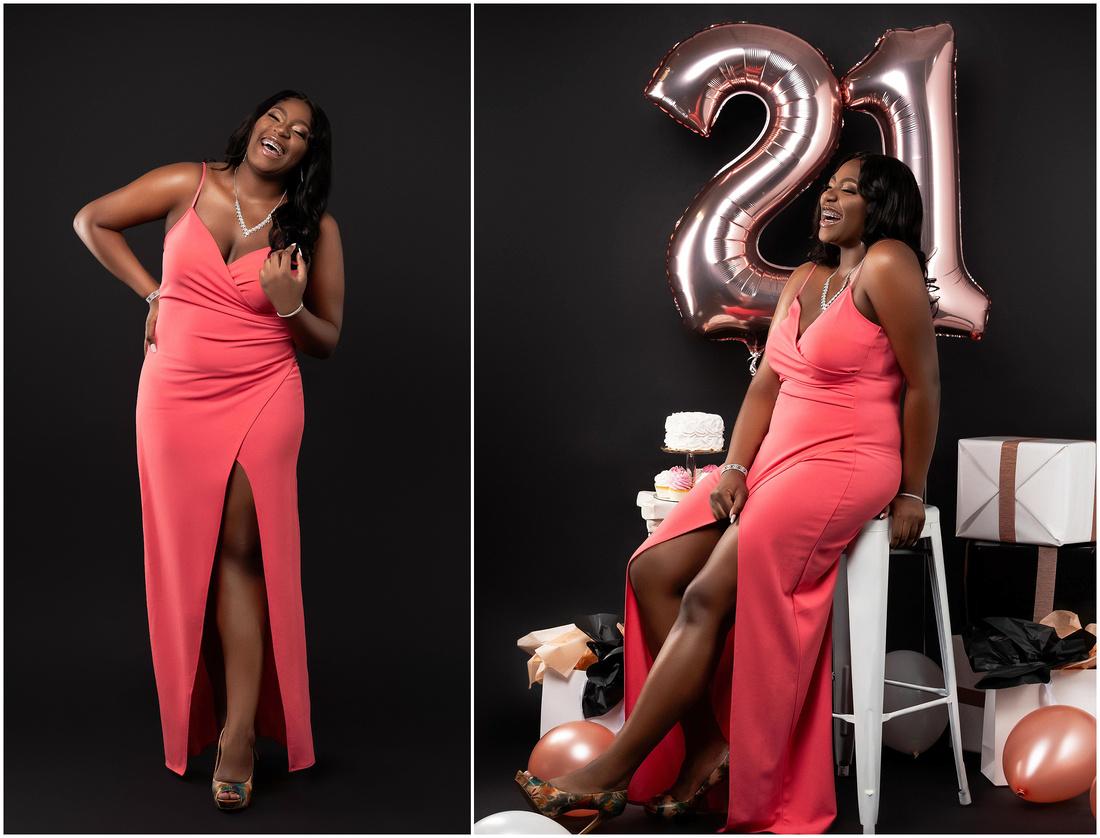Natallia's 21st Birthday Shoot in studio in Bridgeport, CT. Pink white and Rose Gold theme.