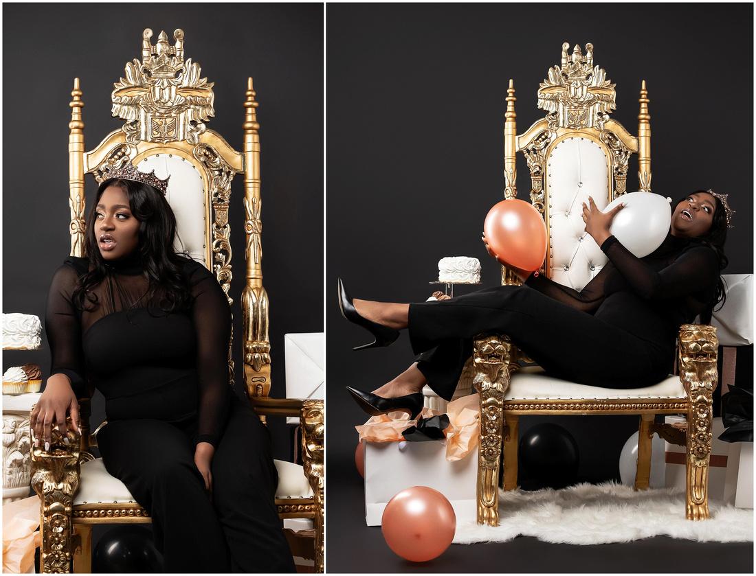 Natallia's 21st Birthday Shoot in studio in Bridgeport, CT. Black white and Rose Gold theme.