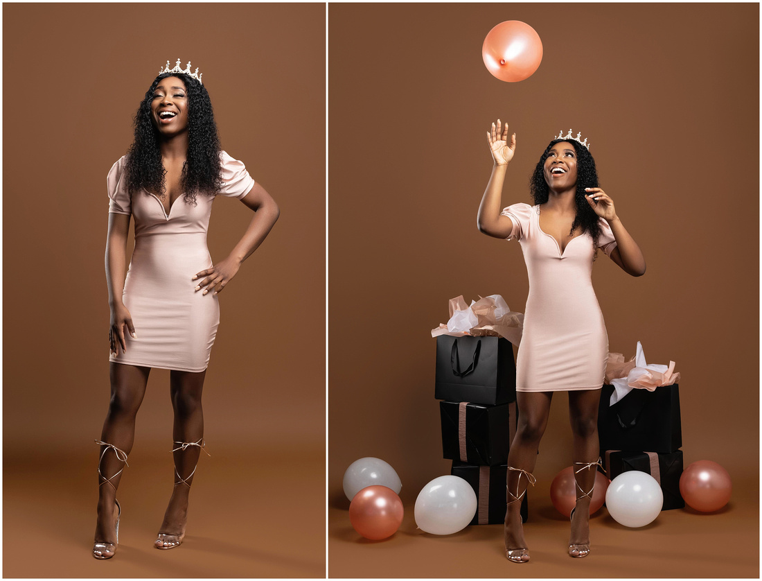 Ameerah's 21st Birthday Shoot in studio in Bridgeport, CT. Birthday photo shoot ideas for adults. Rose gold black and brown theme.