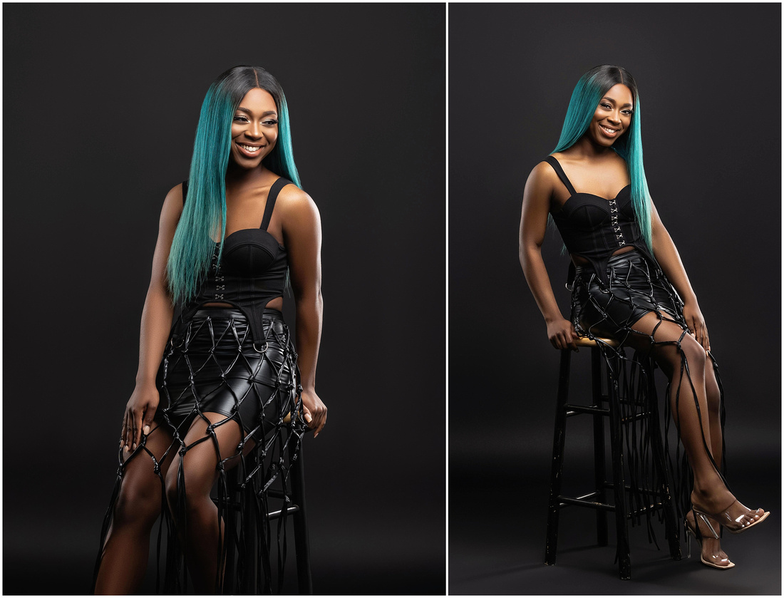 Ameerah's 21st Birthday Shoot in studio in Bridgeport, CT. Birthday photo shoot ideas for adults. Black and teal theme.