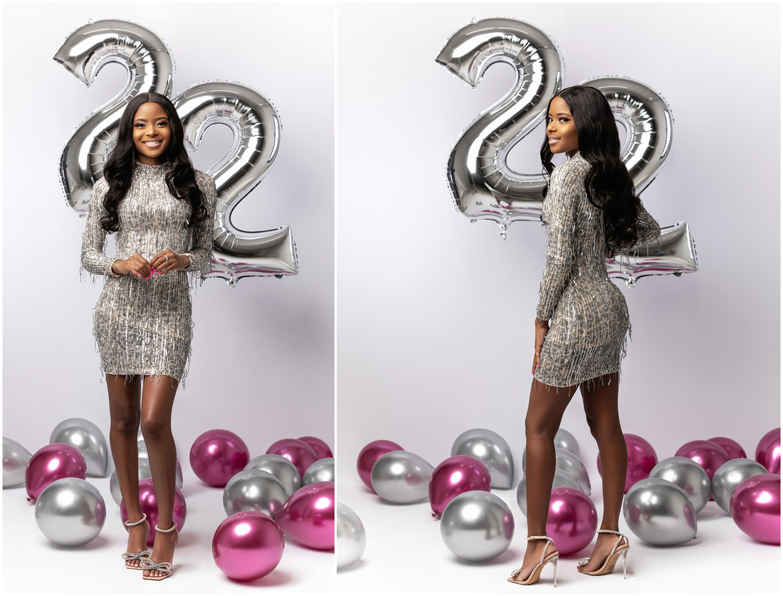 Sadeisha's 22nd Birthday Shoot in studio in Queens, NY. Birthday photo shoot ideas for adults. Silver and purple theme.