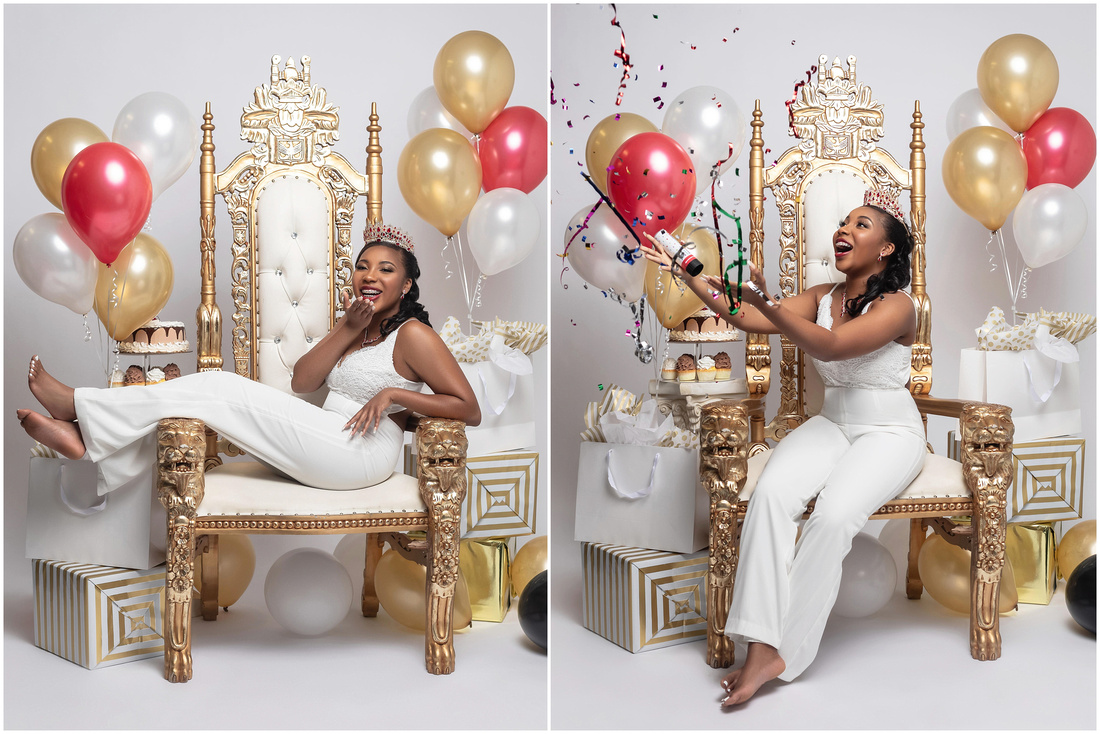Justina's 16th Birthday Shoot in studio in Bridgeport, CT. White gold and red theme. White jumpsuit.