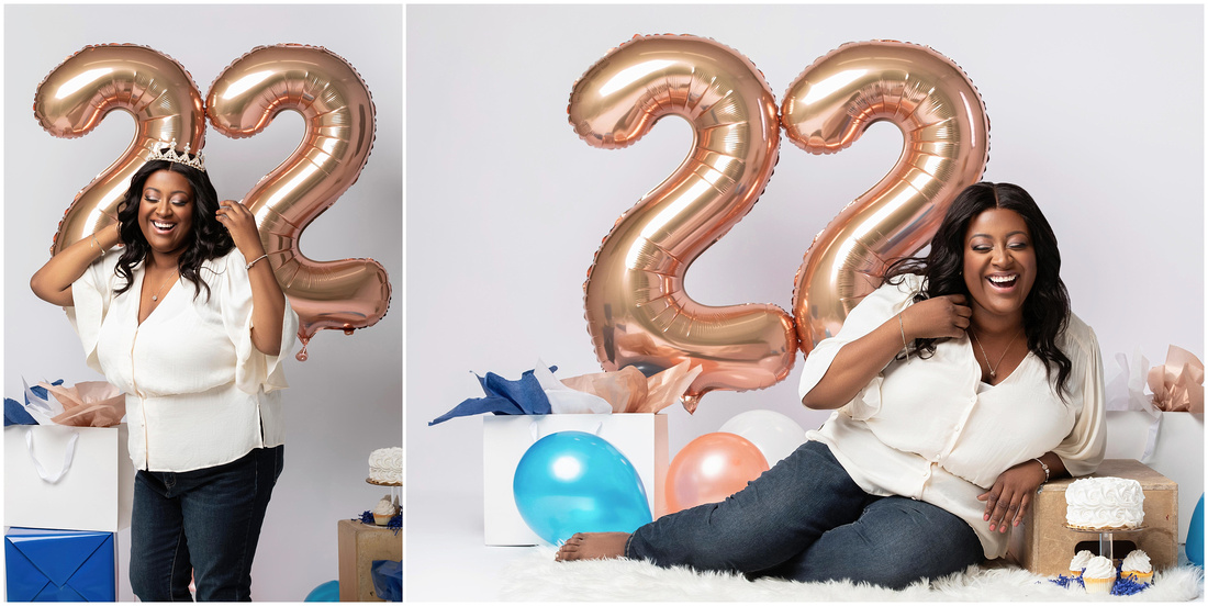 Holly's 22nd Birthday Shoot in studio in Queens, NY. White, rose gold and blue theme. Birthday photo shoot ideas for adult women.