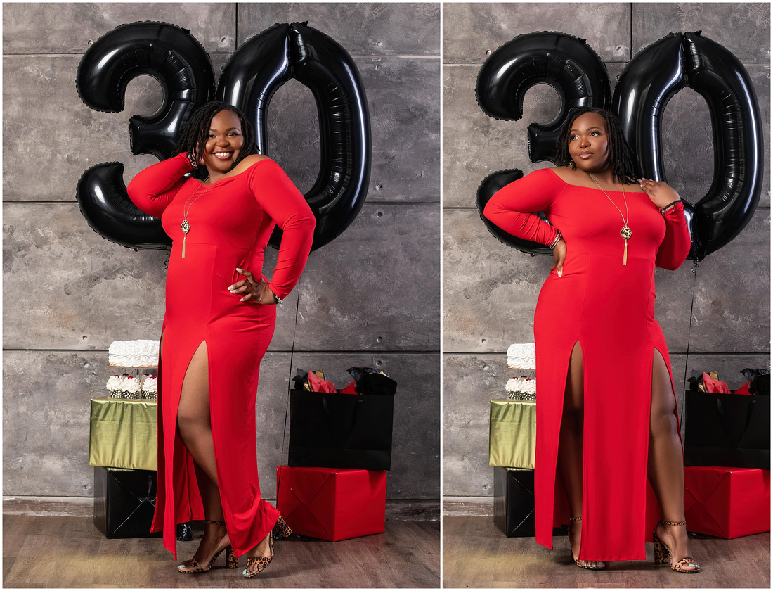 Telesha's 30th Birthday Shoot in studio in Queens, NY. Red black and gold theme. Birthday photo shoot ideas for adults.