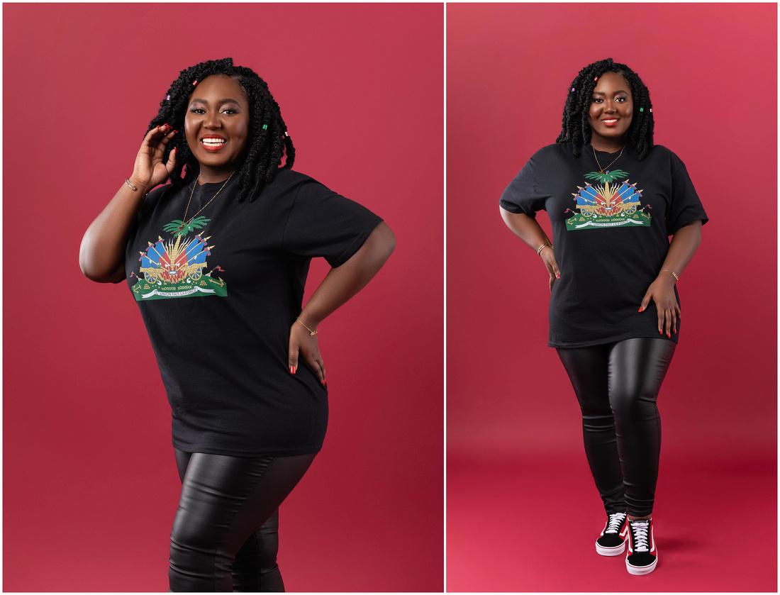 Ave's Portrait Session celebrating Haitian Flag Day in studio in Bridgeport, CT. Beautiful black Haitian woman.
