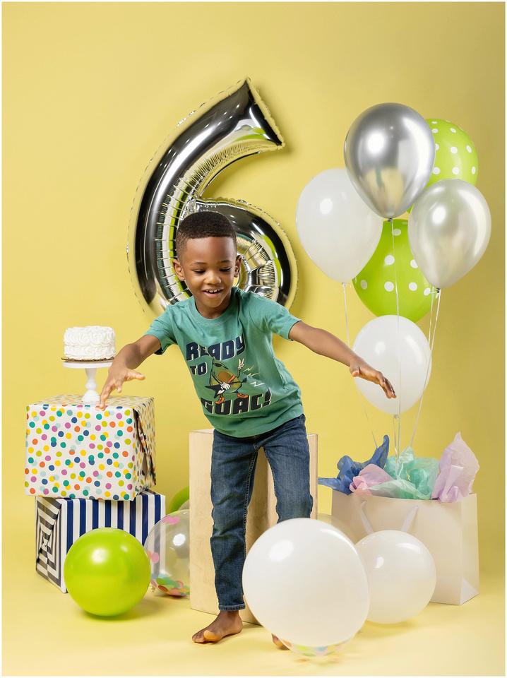 Jaden's 6th Birthday Shoot in studio in Norwalk, CT. Green, yellow and silver theme.