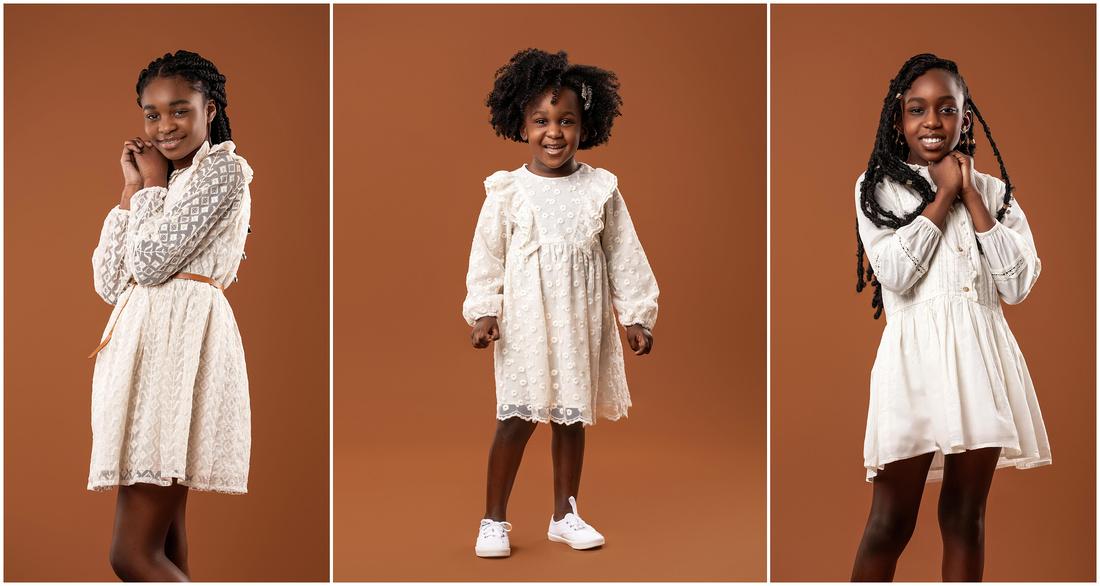 Kenyetta's Family Portrait Session in studio in Bridgeport, CT. Beautiful black girls.