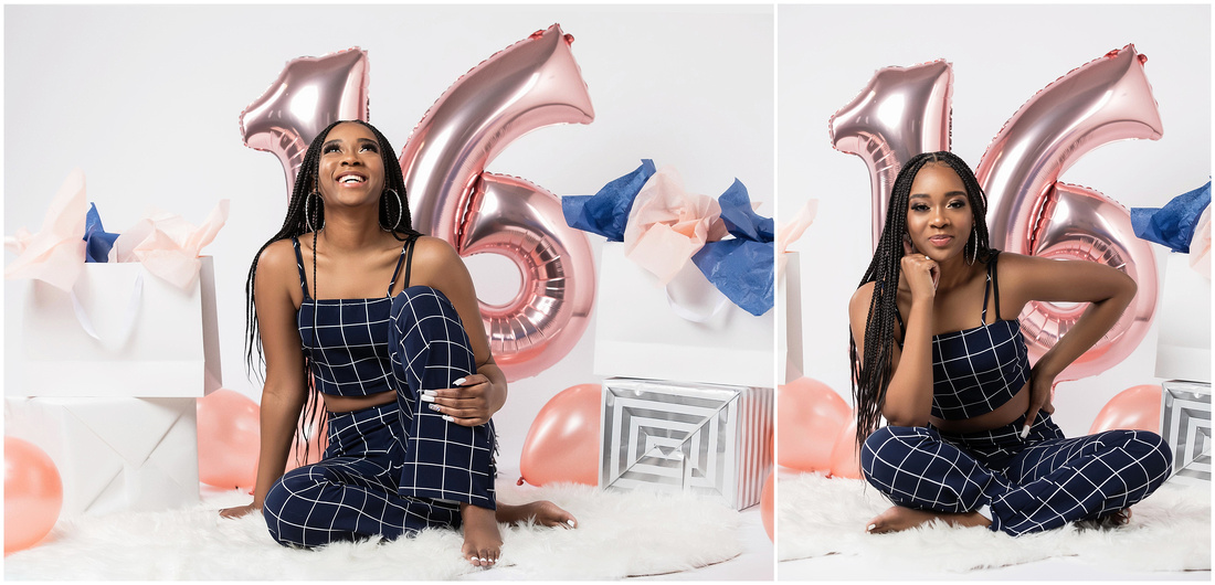 Kayla's 16th Birthday Shoot in studio in Bridgeport, CT. Birthday shoot ideas for teenagers. Black girl. Navy and white theme.